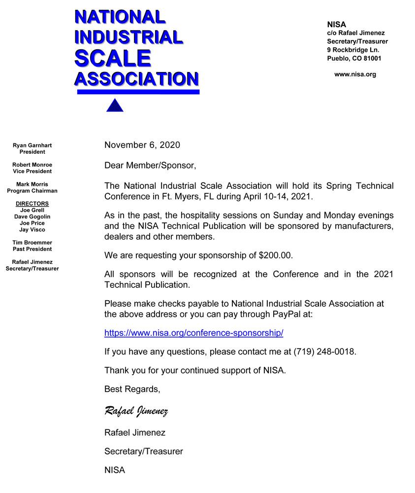 Hospitality & Technical Publication -Sponsor Request Spring 2021